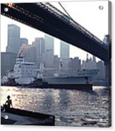 Boy Freighter Brooklyn Bridge Sunset Acrylic Print