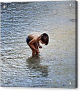 Boy Playing In The Pond Acrylic Print