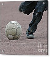 Boy Playing Soccer With A Ball Acrylic Print