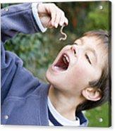 Boy Pretending To Eat An Earthworm Acrylic Print