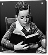 Boy Reading Book At Desk Acrylic Print