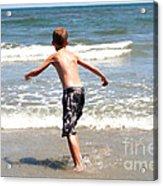 Boy Running Into Surf Acrylic Print