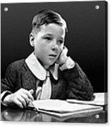 Boy Sitting At Desk W/book Acrylic Print