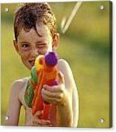 Boy Spraying Water Gun Acrylic Print