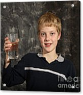 Boy With A Hot Glass Of Water Acrylic Print