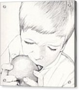 Boy With Apple Acrylic Print