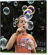Boy With Colorful Bubbles Acrylic Print by Matthias Hauser