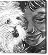 Boy With Pet Dog Acrylic Print