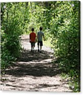 Boys Hiking In Woods Acrylic Print