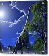 Brachiosaurus Dinosaurs, Artwork Acrylic Print by Roger Harris