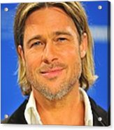 Brad Pitt At The Press Conference Acrylic Print by Everett