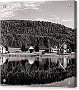 Brant Lake Reflections Black And White Acrylic Print