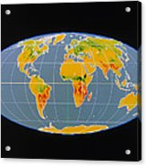 'breathing Earth' Co2 Input/output, Global Map Acrylic Print