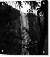 Bridalveil In Background Black And White Acrylic Print