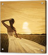 Bride In Yellow Field On Sunset  Acrylic Print
