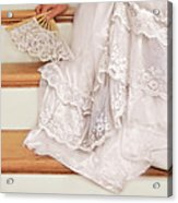 Bride Sitting On Stairs With Lace Fan Acrylic Print by Jill Battaglia