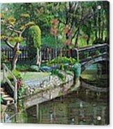 Bridge And Garden - Bakewell - Derbyshire Acrylic Print