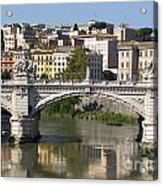 Bridge Ponte Vittorio II. River Tiber.rome Acrylic Print by Bernard Jaubert