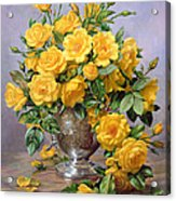 Bright Smile - Roses In A Silver Vase Acrylic Print