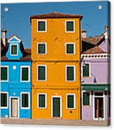 Brightly Painted Houses Of Burano Acrylic Print
