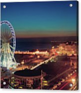 Brighton Wheel And Seafront Lit Up At Night Acrylic Print by PhotoMadly