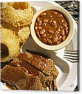 Brisket, Beans, & Rings At Famous Sonny Acrylic Print by Richard Nowitz