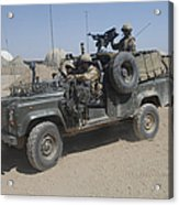 British Soldiers In Their Land Rover Acrylic Print
