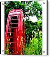 British Telephone Booth In A Field Acrylic Print by Kara Ray
