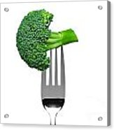 Broccoli On A Fork Isolated On White Acrylic Print by Richard Thomas