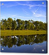 Broemmelsiek Park - Spring Reflections Acrylic Print by Bill Tiepelman