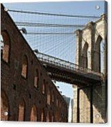 Brooklyn Bridge & Empire Fulton Ferry State Park Acrylic Print by Just One Film