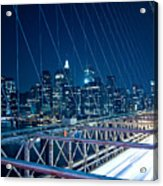 Brooklyn Bridge And Lower Manhattan By Night Acrylic Print