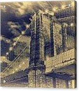 Brooklyn Bridge At Night - Blue Daguerreotype Acrylic Print
