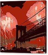 Brooklyn Bridge Fireworks Color 6 Acrylic Print
