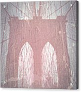 Brooklyn Bridge Red Acrylic Print by Naxart Studio