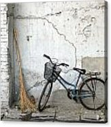 Broom And Bike Acrylic Print