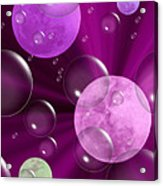 Bubbles And Moons - Purple Abstract Acrylic Print