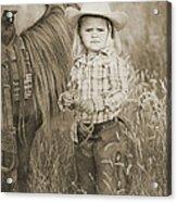 Buckaroo Cowgirl And Horse Acrylic Print by Cindy Singleton