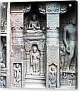 Buddha Carvings At Ajanta Caves Acrylic Print