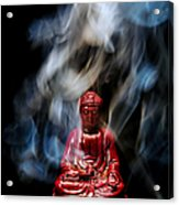 Buddha In Smoke Acrylic Print by Olivier Le Queinec