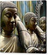 Buddhas With Umbrellas Acrylic Print