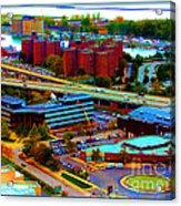 Buffalo New York Aerial View Neon Effect Acrylic Print