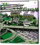 Buffalo New York Waterfront Aerial View Ultraviolet Effect Acrylic Print
