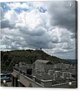 Buildings Cover The Lower Section Of A Hill That Has A Temple At The Top With Clouds Covering The Sk Acrylic Print