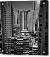 Buildings In Hong Kong Acrylic Print by All rights reserved to C. K. Chan
