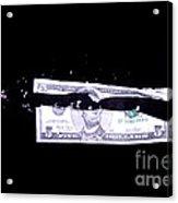 Bullet Hitting A Five Dollar Bill Acrylic Print