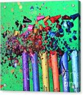 Bullet Hitting Crayons Acrylic Print
