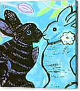Bunnies In Love Acrylic Print by Patricia Lazar