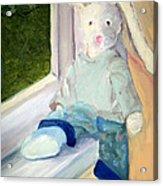 Bunny On Window Ledge Acrylic Print