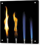 Bunsen Burner Flame Sequence Acrylic Print by